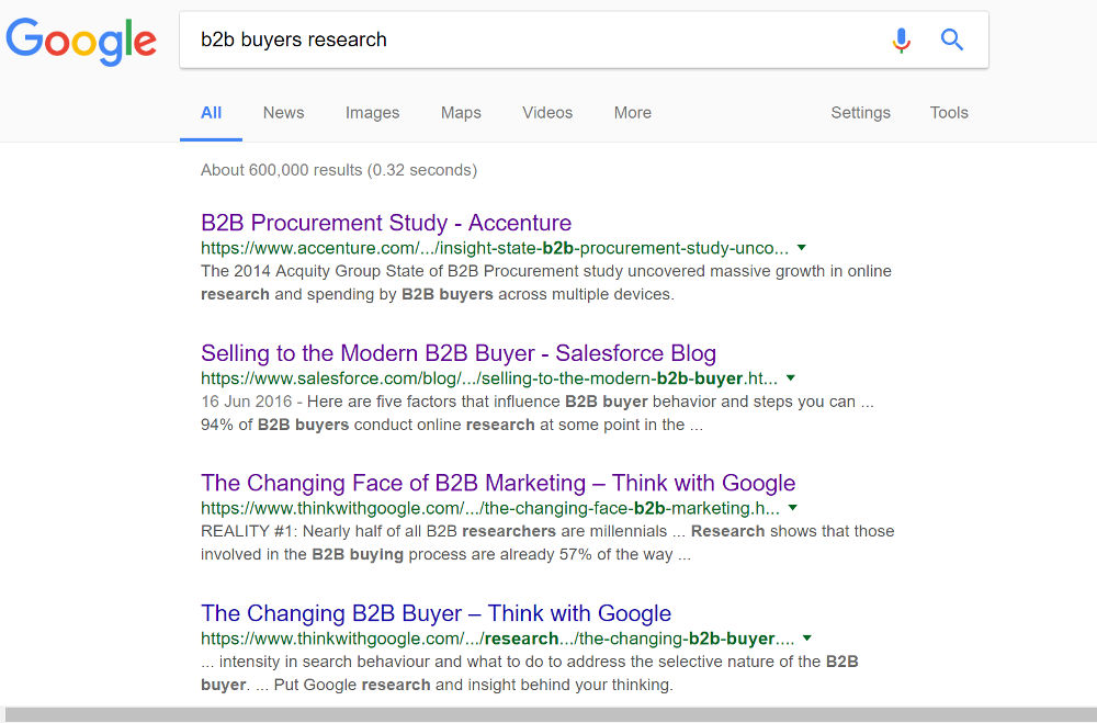 google b2b buyer research